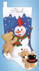 Snowman and Teddies Stocking FELT kit By Design Works
