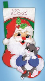 Santa with Kitten Stocking FELT kit By Design Works