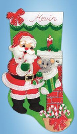 Santa with Mouse Stocking FELT kit By Design Works