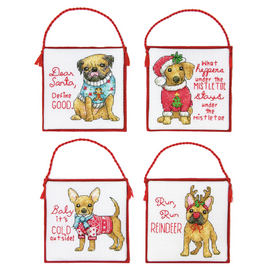 Counted Cross Stitch Kit: Ornament Set: Christmas Pups by Dimensions