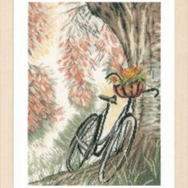 Bike and flowers Cross Stitch Kit by Lanarte