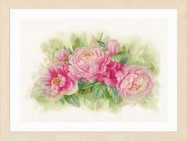 Bouquet of Peonies Cross Stitch Kit by Lanarte
