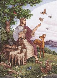 Jesus with Animals Cross Stitch Kit By Janlynn