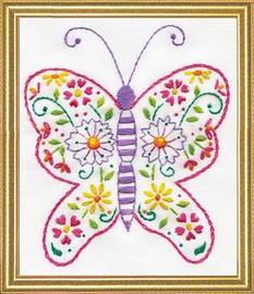 Butterfly Printed Embroidery Kit By Design Works