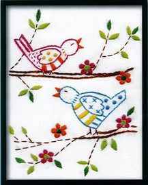 Bird Family Printed Embroidery Kit By Design Works