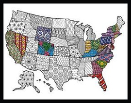 Zenbroidery - USA Map Printed Embroidery Kit By Design Works