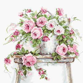 Roses on a Stool Cross Stitch Kit By Luca S