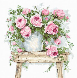 Flowers on a Stool Cross Stitch Kit By Luca S