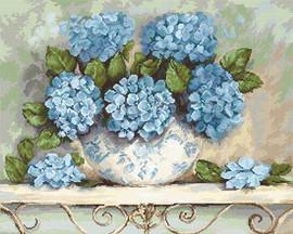 Hydrangeas on Aida Cross Stitch Kit By Luca S