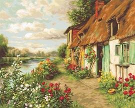 Cottage Landscape Petit Point Kits By Luca S
