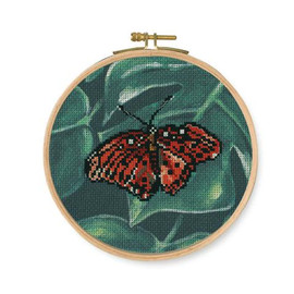 Red Butterfly Printed Counted Cross Stitch Kit By DMC