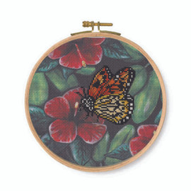 Orange Butterfly Printed Counted Cross Stitch Kit By DMC