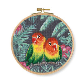Love Birds Printed Counted Cross Stitch Kit  By DMC