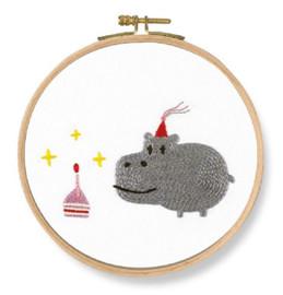 Birthday! Hippo Printed Embroidery Kit By DMC