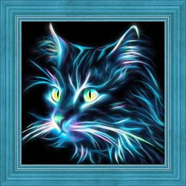 Neon Cat Diamond Painting Kit
