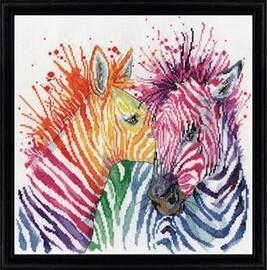 Colourful Zebras Cross stitch Kit by Luca S