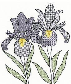 Black work Irises Kit by Bothy Threads