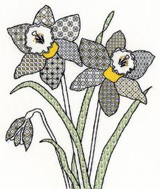 Blackwork Daffodils Kit By Bothy Threads