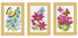 Counted Cross Stitch Kit Miniatures Butterflies Set of 3