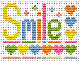 Sew simple Smile Cross Stitch Kit by Fat cat