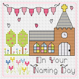 Naming day Girl card kit Cross Stitch Kit by Fat cat