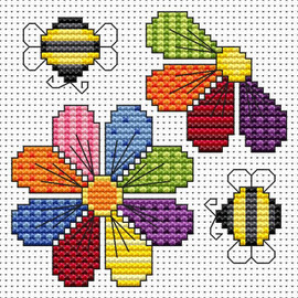 Patchwork Flowers card kit Cross Stitch Kit by Fat cat