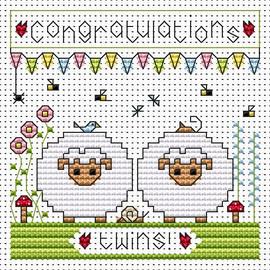 Twin Sheep card kit Cross Stitch Kit by Fat cat