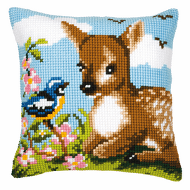 Chunky Cross Stitch Kit: Cushion: Deer And Bird By Vervaco