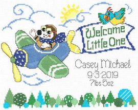 Little Pilot Birth Record Cross Stitch Chart By Ursula Michael