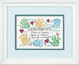 Mini Counted Cross Stitch: Grandparents Touch a Heart