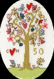 Golden Celebration Cross Stitch Card Kit By Bothy