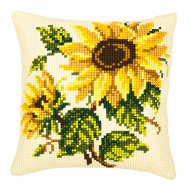 Chunky Cross Stitch Kit: Cushion: Sunflowers on Cream By Vervaco