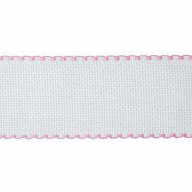 Aida Band: 16 Count: 1m x 50mm: White/Pink Edging