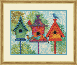 Needlepoint: Colorful Birdhouses By Dimensions