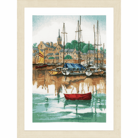 Counted Cross Stitch Kit: Sunrise at Yacht Harbour By Lanarte