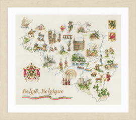 Counted Cross Stitch Kit: Map of Belgium By Lanarte