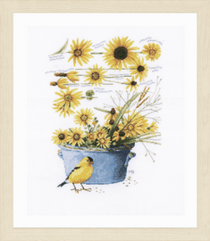 Counted Cross Stitch Kit: Helianthus Sunflowers By Lanarte