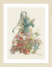 Counted Cross Stitch Kit: Birds at the Water Pump By Lanarte