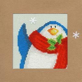 Christmas Card – Snowy Penguin Cross Stitch Card Kit
