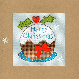 Christmas Card – Snowy Pud Cross Stitch Card Kit