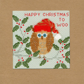 Christmas Card – Xmas Owl Cross Stitch Card Kit