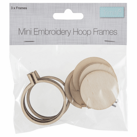Frame: Mini Embroidery Hoop: Round: 40 x 40mm: Pack of 3