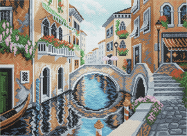 Printed Aida Fabric: On Streets of Venice By Collection D'Art