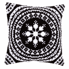 Cross Stitch Kit: Cushion: White and Black By Vervaco