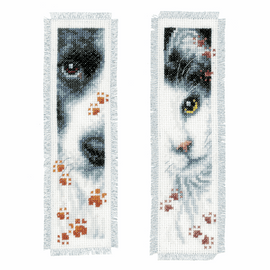 Counted Cross Stitch: Bookmark: Dog & Cat: Set of 2 By Vervaco