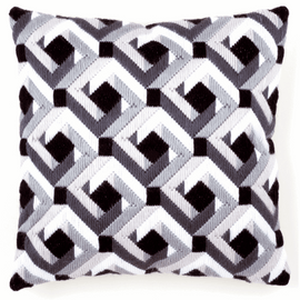Long Stitch Cushion: Black & White By Vervaco