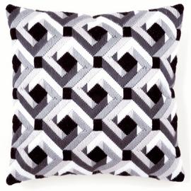 Long Stitch Cushion: Black & White By Vervaco
