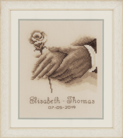Counted Cross Stitch Kit: Wedding Record: Wedding Rings by Vervcao