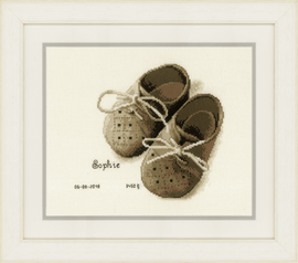 Counted Cross Stitch Kit: Birth Record: First Shoes By Vervaco