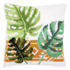 Cross Stitch Kit: Cushion: Botanical Leaves by Vervaco